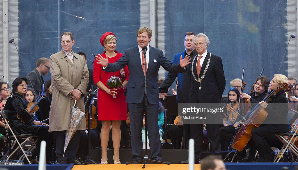 Jan Franssen, Queen Maxima of The Netherlands, King Willem-Alexander of The Netherlands and The Hague Mayor Jozias van Aartsen stand on the stage while the King thanks the people of The Netherlands for their hospitality during the provincial visits that have concluded here in The Hagueon June 21, 2013 in The Hague, Netherlands.