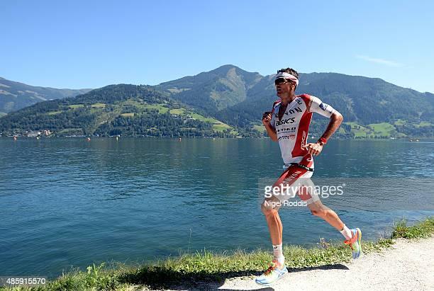 Jan Frodeno of Germany competes in the run section of Ironman 703 World Championship on August 30 2015 in Zell am See Austria