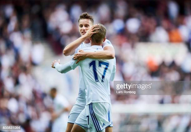 Jan Gregus and Kasper Kusk of FC Copenhagen celebrate after scoring their first goal during the Danish Alka Superliga match between FC Copenhagen and...