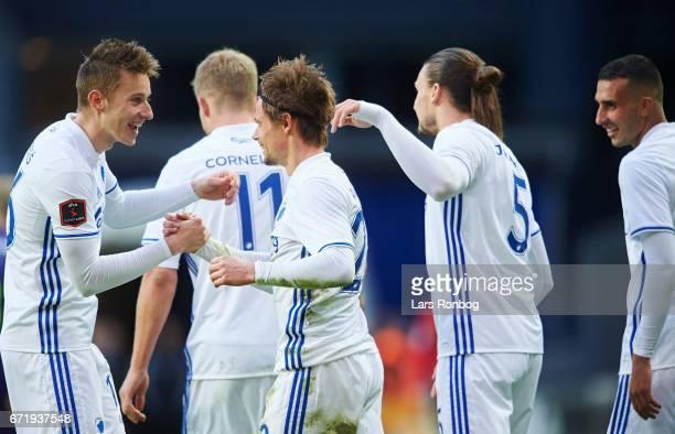 Jan Gregus and Peter Ankersen of FC Copenhagen celebrate after scoring their third goal during the Danish Alka Superliga match between FC Copenhagen...