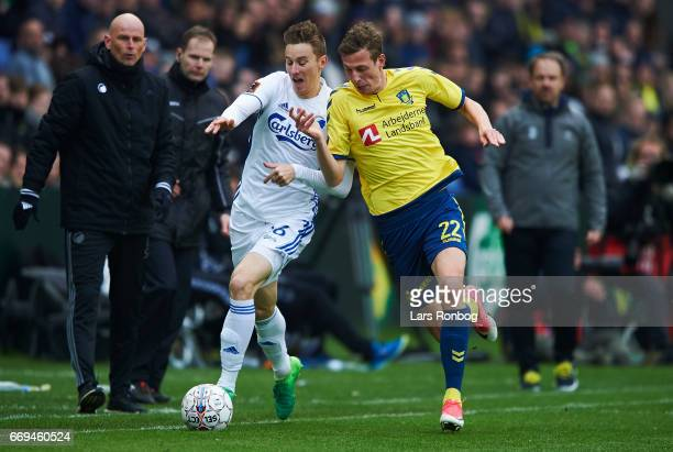 Jan Gregus of FC Copenhagen and Gustaf Nilsson of Brondby IF compete for the ball during the Danish Alka Superliga match between Brondby IF and FC...