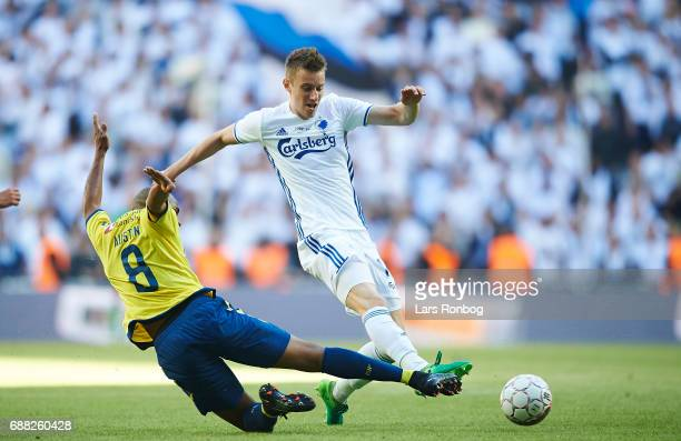 Jan Gregus of FC Copenhagen and Rodolph Austin of Brondby IF compete for the ball during the Danish Cup Final DBU Pokalen match between FC Copenhagen...