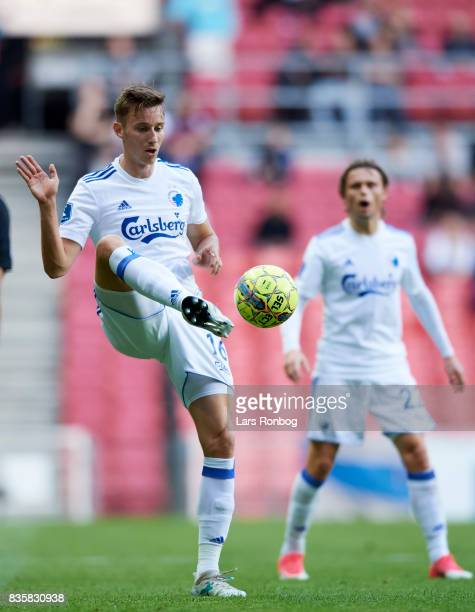 Jan Gregus of FC Copenhagen controls the ball during the Danish Alka Superliga match between FC Copenhagen and Sonderjyske at Telia Parken Stadium on...
