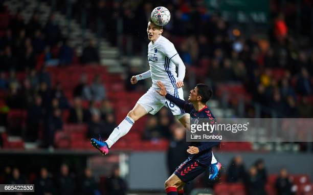 Jan Gregus of FC Copenhagen with a header during the Danish cup DBU Pokalen quarterfinal match between FC Copenhagen and AGF Aarhus at Telia Parken...