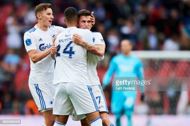 Jan Gregus Youssef Toutouh and Benjamin Verbic of FC Copenhagen celebrate after scoring their second goal during the Danish Alka Superliga match...