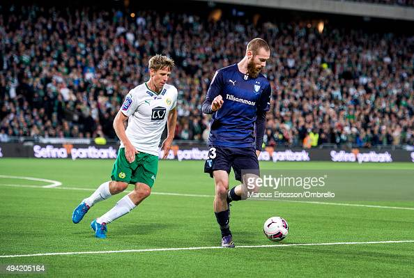 Jan Gunnar Solli of Hammarby IF and Jo Inge Berget of Malmo FF in action during the Allsvenskan match between Hammarby IF and Malmo FF at Tele2 Arena...