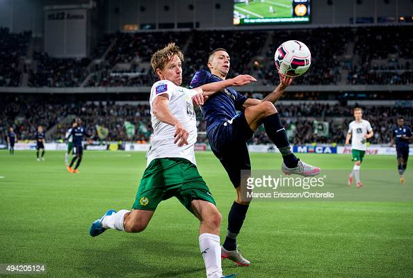 Jan Gunnar Solli of Hammarby IF and Nikola Djurdjic of Malmo FF in action during the Allsvenskan match between Hammarby IF and Malmo FF at Tele2...