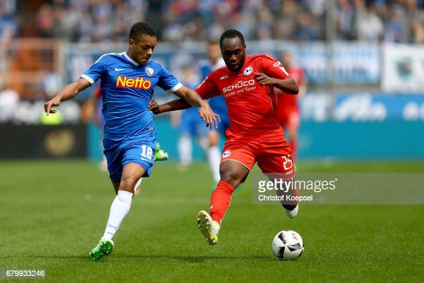 Jan Gyamerah of Bochum challenges Reinhold Yabo of Bielefeld during the Second Bundesliga match between VfL Bochum 1848 and DSC Arminia Bielefeld at...