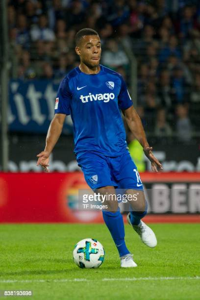 Jan Gyamerah of Bochum controls the ball during the Second Bundesliga match between VfL Bochum 1848 and FC St Pauli at Vonovia Ruhrstadion on July 28...