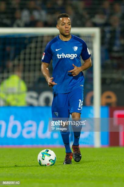 Jan Gyamerah of Bochum controls the ball during the Second Bundesliga match between VfL Bochum 1848 and Fortuna Duesseldorf at Vonovia Ruhrstadion on...