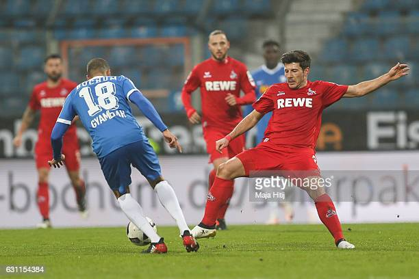 Jan Gyamerah of Bochum is challenged by Milos Jojic of Koeln during a friendly match between VfL Bochum and 1 FC Koeln at Vonovia Ruhrstadion on...