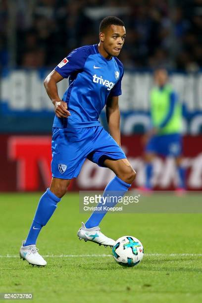 Jan Gyamerah of Bochum runs with the ball during the Second Bundesliga match between VfL Bochum 1848 and FC St Pauli at Vonovia Ruhrstadion on July...
