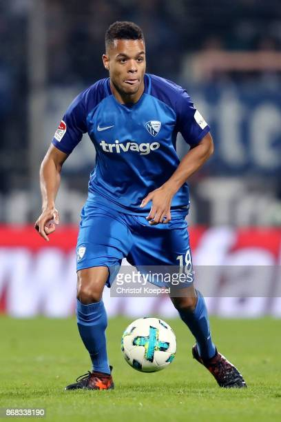 Jan Gyamerah of Bochum runs with the ball during the Second Bundesliga match between VfL Bochum 1848 and Fortuna Duesseldorf at Vonovia Ruhrstadion...
