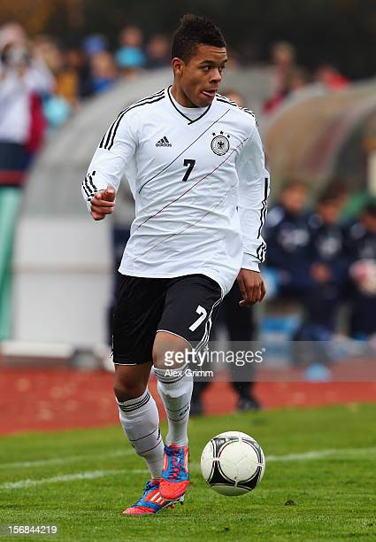 Jan Gyamerah of Germany controles the ball during the U18 international friendly match between Germany and Italy at Sportpark on November 14 2012 in...