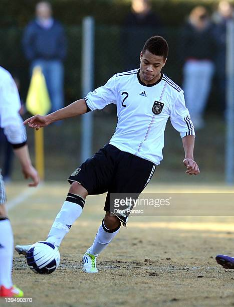 Jan Gyamerah of Germany runs with the ball during the U17 International friendly match between Italy and Germany on February 21 2012 in Cordignano...