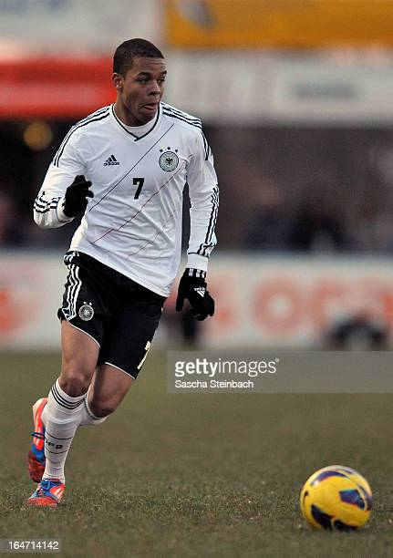 Jan Gyamerah of Germany runs with the ball during the U18 International Friendly match between The Netherlands and Germany on March 26 2013 in...