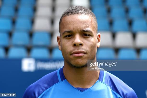 Jan Gyamerah of VfL Bochum poses during the team presentation at Vonovia Ruhrstadion on July 11 2017 in Bochum Germany
