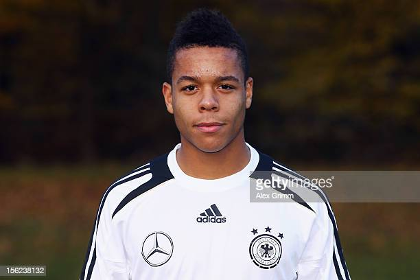 Jan Gyamerah poses during the Germany U18 team presentation at Commerzbank Arena on November 12 2012 in Frankfurt am Main Germany