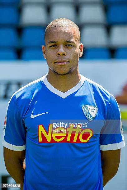 Jan Gyamerah poses during the official team presentation of VfL Bochum on July 19 2016 at Vonovia Ruhrstadion in Bochum Germany