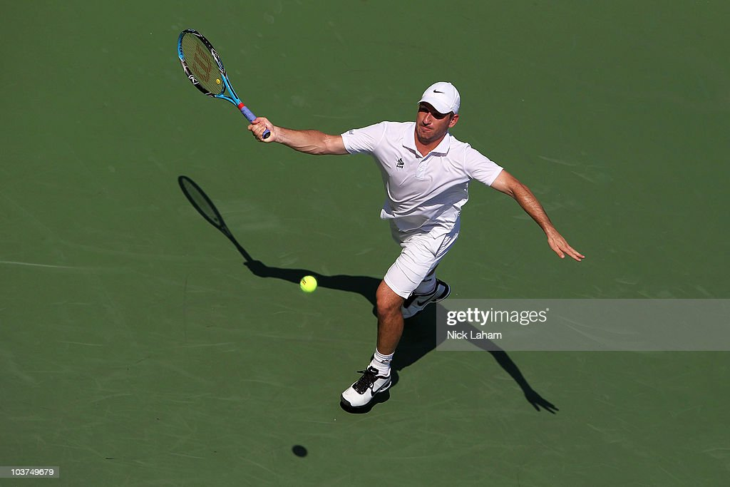 <a gi-track='captionPersonalityLinkClicked' href=/galleries/search?phrase=Jan+Hajek&family=editorial&specificpeople=553819 ng-click='$event.stopPropagation()'>Jan Hajek</a> of the Czech Republic returns a shot against Mardy Fish of the United States during his first round men's single's match on day two of the 2010 U.S. Open at the USTA Billie Jean King National Tennis Center on August 31, 2010 in the Flushing neighborhood of the Queens borough of New York City.
