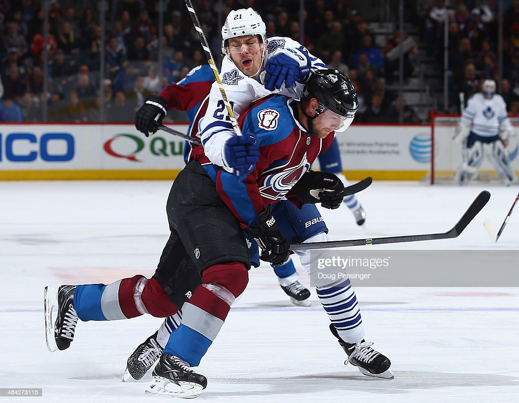 <a gi-track='captionPersonalityLinkClicked' href=/galleries/search?phrase=Jan+Hejda&family=editorial&specificpeople=624333 ng-click='$event.stopPropagation()'>Jan Hejda</a> #8 of the Colorado Avalanche and James van Riemsdyk #21 of the Toronto Maple Leafs collide during action at Pepsi Center on January 21, 2014 in Denver, Colorado.