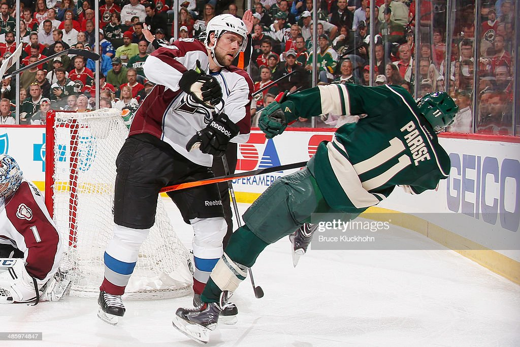 <a gi-track='captionPersonalityLinkClicked' href=/galleries/search?phrase=Jan+Hejda&family=editorial&specificpeople=624333 ng-click='$event.stopPropagation()'>Jan Hejda</a> #8 of the Colorado Avalanche checks <a gi-track='captionPersonalityLinkClicked' href=/galleries/search?phrase=Zach+Parise&family=editorial&specificpeople=213606 ng-click='$event.stopPropagation()'>Zach Parise</a> #11 of the Minnesota Wild during Game Three of the First Round of the 2014 Stanley Cup Playoffs on April 21, 2014 at the Xcel Energy Center in St. Paul, Minnesota.