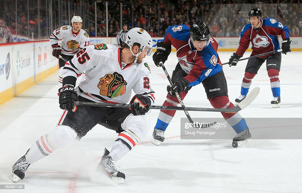 <a gi-track='captionPersonalityLinkClicked' href=/galleries/search?phrase=Jan+Hejda&family=editorial&specificpeople=624333 ng-click='$event.stopPropagation()'>Jan Hejda</a> #8 of the Colorado Avalanche controls the puck against <a gi-track='captionPersonalityLinkClicked' href=/galleries/search?phrase=Viktor+Stalberg&family=editorial&specificpeople=5802237 ng-click='$event.stopPropagation()'>Viktor Stalberg</a> #25 of the Chicago Blackhawks at the Pepsi Center on March 8, 2013 in Denver, Colorado. The Avalanche defeated the Blackhawks 6-2 to end the Chicago's 30 game undefeated streak.
