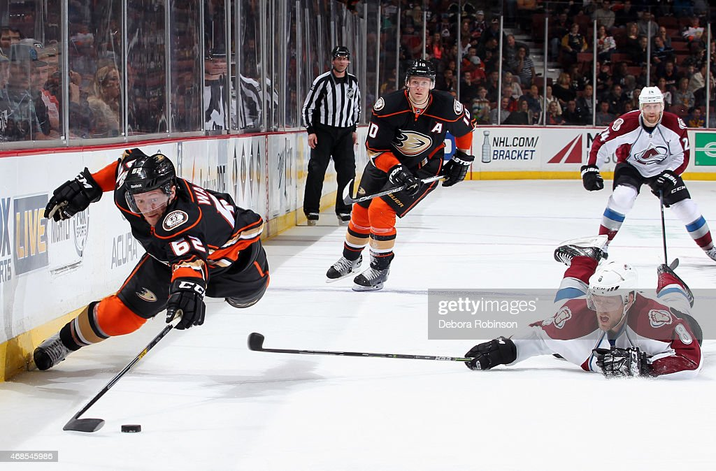 <a gi-track='captionPersonalityLinkClicked' href=/galleries/search?phrase=Jan+Hejda&family=editorial&specificpeople=624333 ng-click='$event.stopPropagation()'>Jan Hejda</a> #8 of the Colorado Avalanche dives to the ice as Chris Wagner #62 of the Anaheim Ducks goes off balance to control the puck on April 3, 2015 at Honda Center in Anaheim, California.