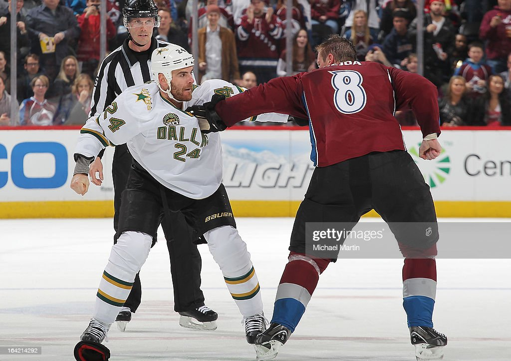 Jan Hejda #8 of the Colorado Avalanche fights against <a gi-track='captionPersonalityLinkClicked' href=/galleries/search?phrase=Eric+Nystrom&family=editorial&specificpeople=2209813 ng-click='$event.stopPropagation()'>Eric Nystrom</a> #24 of the Dallas Stars at the Pepsi Center on March 20, 2013 in Denver, Colorado.