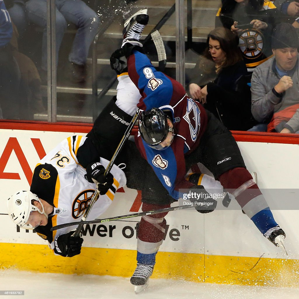 <a gi-track='captionPersonalityLinkClicked' href=/galleries/search?phrase=Jan+Hejda&family=editorial&specificpeople=624333 ng-click='$event.stopPropagation()'>Jan Hejda</a> #8 of the Colorado Avalanche puts a hit on Carl Soderberg #34 of the Boston Bruins and up ends him at Pepsi Center on January 21, 2015 in Denver, Colorado. The Avalanche defeated the Bruins 3-2 in an overtime shootout.