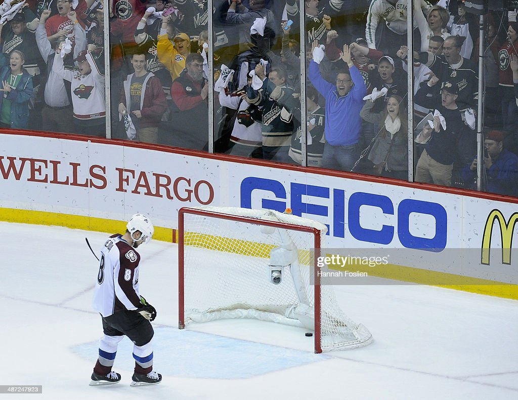 Jan Hejda #8 of the Colorado Avalanche reacts after Marco Scandella #6 of the Minnesota Wild scored the second empty net goal for the Wild during the third period in Game Six of the First Round of the 2014 NHL Stanley Cup Playoffs on April 28, 2014 at Xcel Energy Center in St Paul, Minnesota. The Wild defeated the Avalanche 5-2.
