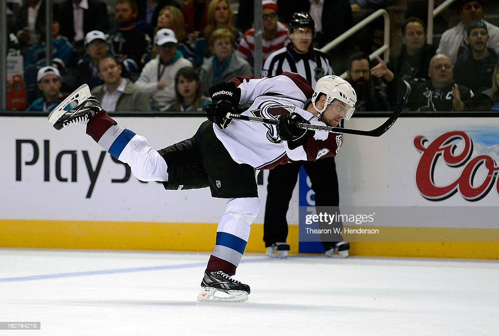 <a gi-track='captionPersonalityLinkClicked' href=/galleries/search?phrase=Jan+Hejda&family=editorial&specificpeople=624333 ng-click='$event.stopPropagation()'>Jan Hejda</a> #8 of the Colorado Avalanche shoots on goal against the San Jose Sharks in the third period at HP Pavilion on February 26, 2013 in San Jose, California. The Sharks won the game in an overtime shoot-out 3-2.