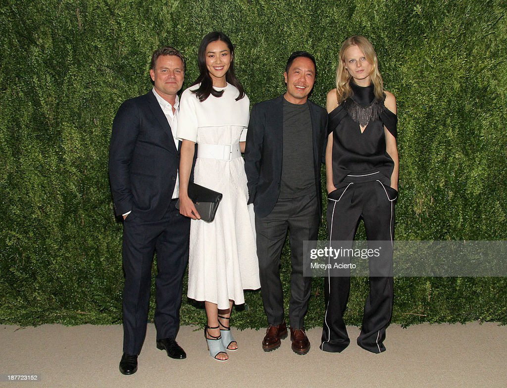 Jan Hendrik-Schlottmann, <a gi-track='captionPersonalityLinkClicked' href=/galleries/search?phrase=Liu+Wen&family=editorial&specificpeople=5523814 ng-click='$event.stopPropagation()'>Liu Wen</a>, Derek Lam, and Hanne Gaby Odiele attend CFDA and Vogue 2013 Fashion Fund Finalists Celebration at Spring Studios on November 11, 2013 in New York City.