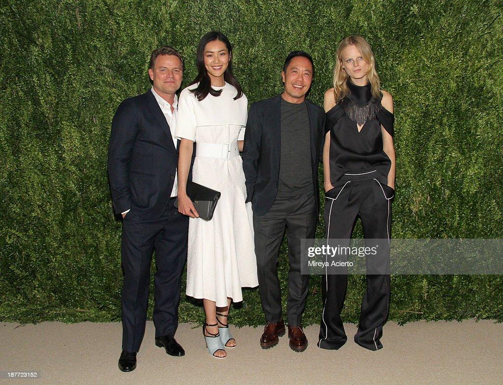 Jan HendrikSchlottmann Liu Wen Derek Lam and Hanne Gaby Odiele attend CFDA and Vogue 2013 Fashion Fund Finalists Celebration at Spring Studios on...