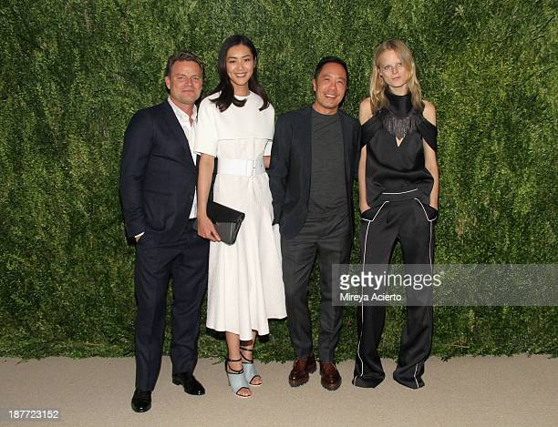 Jan HendrikSchlottmann Liu Wen Derek Lam and Hanne Gaby Odiele attend CFDA and Vogue 2013 Fashion Fund Finalists Celebration at Spring Studios on...