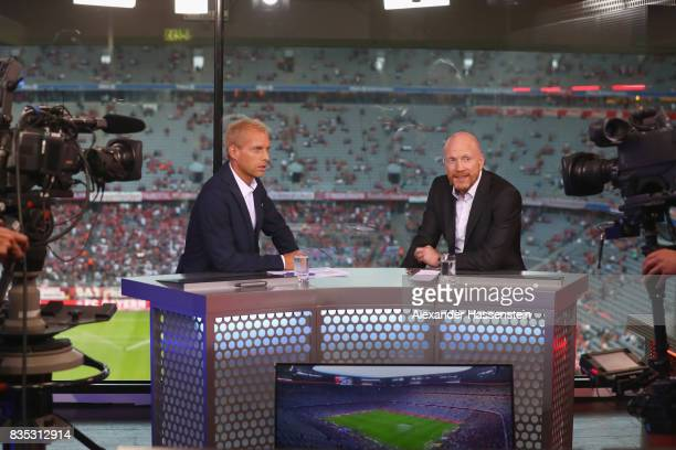 Jan Henkel and Matthias Sammer at the Eurosport TV studio prior to the Bundesliga match between FC Bayern Muenchen and Bayer 04 Leverkusen at Allianz...