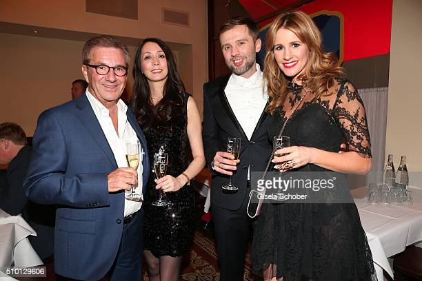 Jan Hofer and his girlfriend Phong Lan Truong Mareile Hoeppner and her husband Arne Schoenfeld during the Bild 'Place to B' Party at Borchardt during...