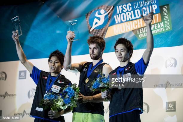 Jan Hojer of Germany Taisei Ishimatsuof Japan and Taisei Ishimatsu of Japan on the podium after the IFSC Climbing World Cup Munich on August 19 2017...