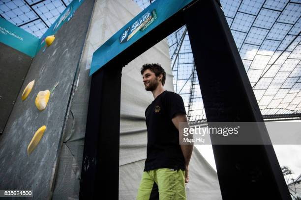 Jan Hojer of Germany wait during the men final at the IFSC Climbing World Cup Munich on August 19 2017 in Munich Germany