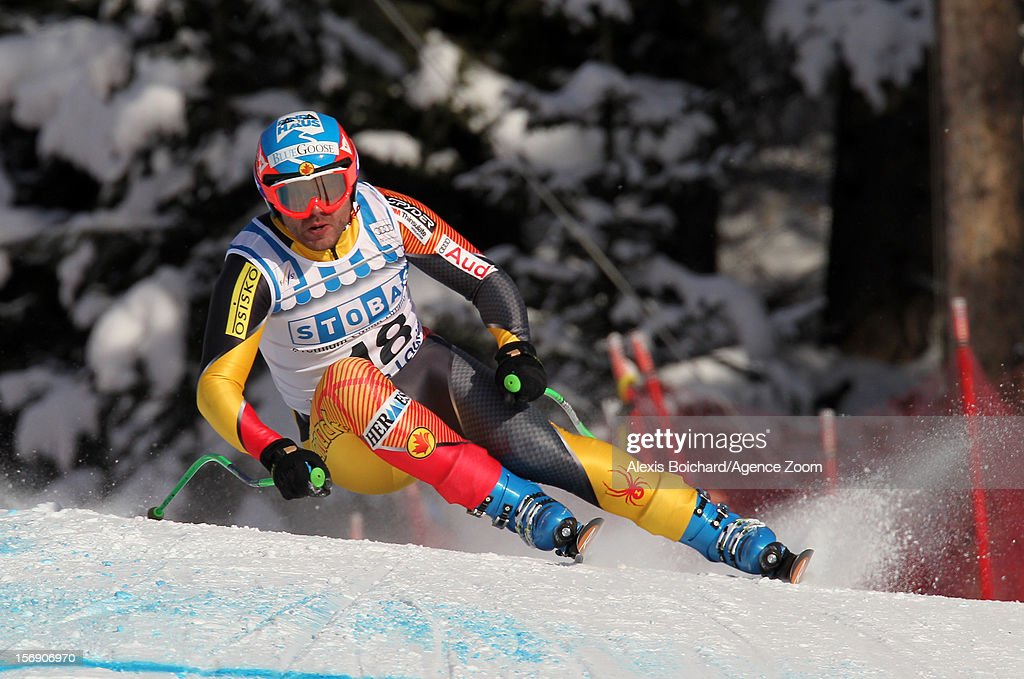 <a gi-track='captionPersonalityLinkClicked' href=/galleries/search?phrase=Jan+Hudec&family=editorial&specificpeople=2096085 ng-click='$event.stopPropagation()'>Jan Hudec</a> of Canada competes during the Audi FIS Alpine Ski World Cup Men's Downhill on November 24, 2012 in Lake Louise, Alberta, Canada.