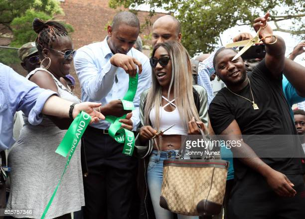 Jan Jackson New York State Assemblyman Walter T Mosley T'yanna Dream Wallace L Londell McMillan and Lil Cease attend the ribbon cutting ceremony at...
