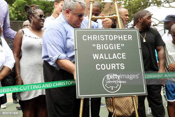 Jan Jackson NYC Parks Brooklyn Borough Commissioner Martin Maher L Londell McMillan and Lil Cease attend the ribbon cutting ceremony at Crispus...