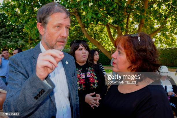 Jan Jarab Mexico's representative of the UN High Commissioner for Human Rights speaks with Griselda Triana widow of Mexican journalist Javier Valdez...