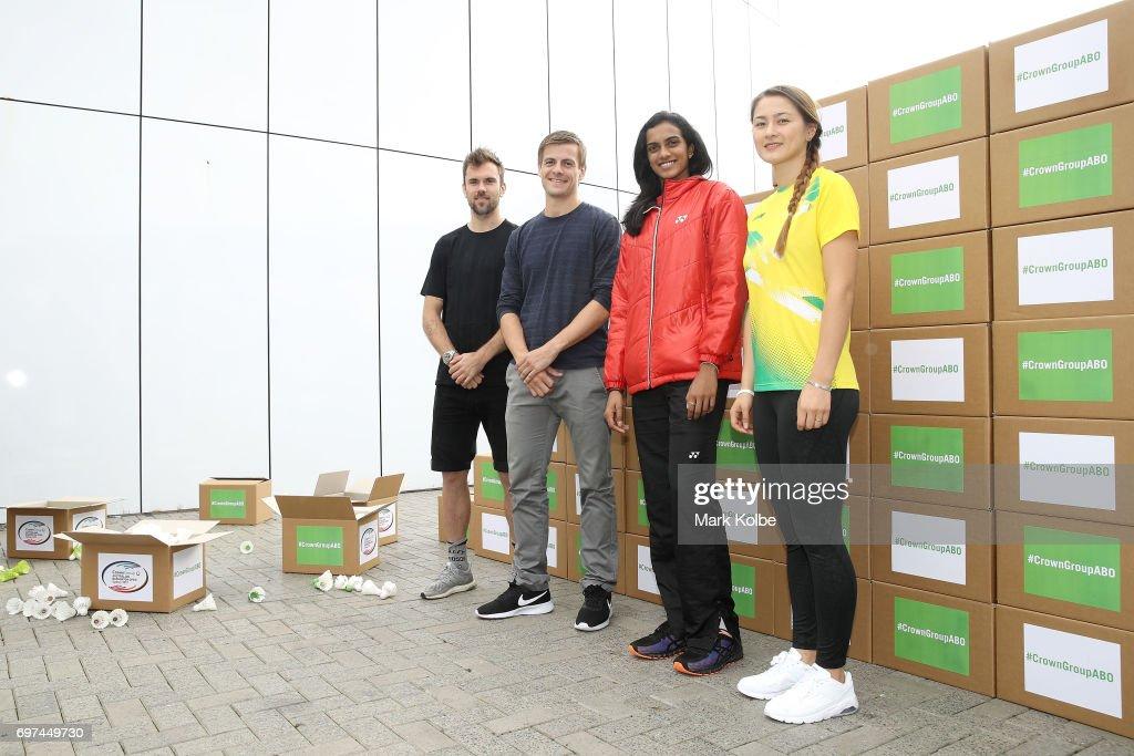 Jan Jorgensen of Denmark, Hans-Kristian Vittinghus of Denmark, Pusarla Venkata Sindhu of India and Gronya Somerville of Australia pose during an Australian Open Badminton Media Call at Star City on June 19, 2017 in Sydney, Australia.