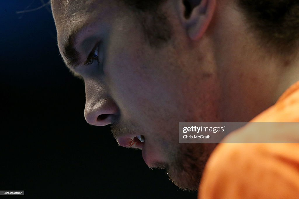 Jan Jorgensen of Denmark reacts after a point against Yun Hu of Hong Kong, China during their Men's Single semi final match on day five of the Badminton YONEX Open on June 14, 2014 in Tokyo, Japan.