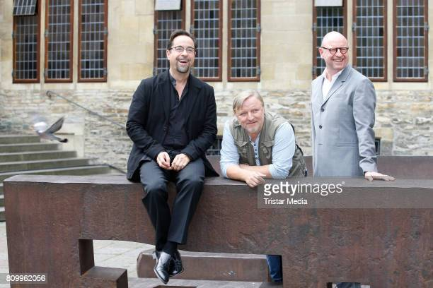 Jan Josef Liefers Axel Prahl and Markus Lewe during the 'Tatort Gott ist auch nur ein Mensch' On Set Photo Call on July 5 2017 in Muenster Germany