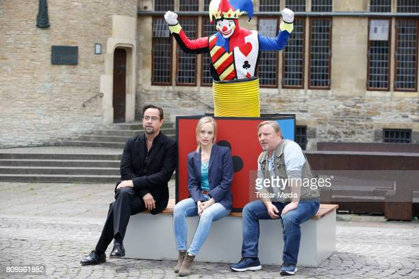 Jan Josef Liefers Friederike Kempter and Axel Prahl during the 'Tatort Gott ist auch nur ein Mensch' On Set Photo Call on July 5 2017 in Muenster...