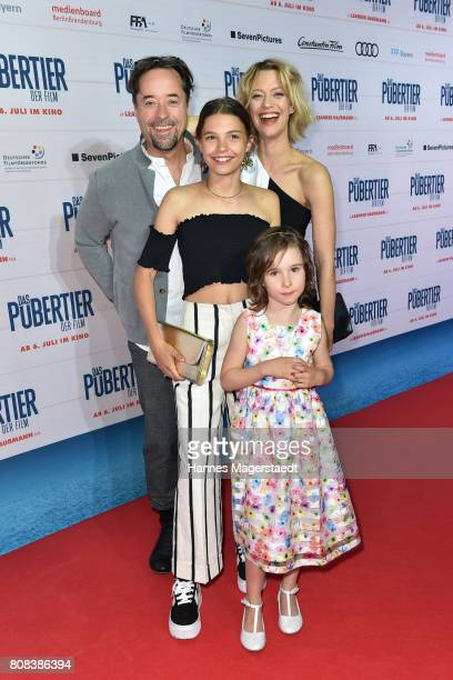 Jan Josef Liefers Heike Makatsch Harriet HerbigMatten and Edwina Kuhl during the 'Das Pubertier' Premiere at Mathaeser Filmpalast on July 4 2017 in...