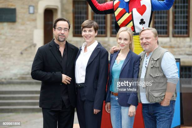 Jan Josef Liefers Viktoria Mayer Friederike Kempter and Axel Prahl during the 'Tatort Gott ist auch nur ein Mensch' On Set Photo Call on July 5 2017...