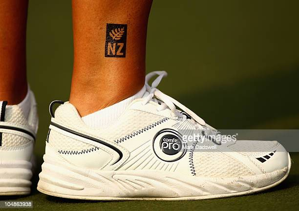 Jan Khan of New Zealand wears the national sporting emblem the silver fern in the Lawn Bowls Womens Pairs match between New Zealand and Canada at JN...